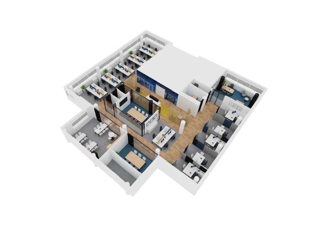 Yokogawa render del proyecto design and build de oficinas en madrid